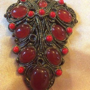 Vintage ♥️ Antique 1910 Carnelian Stone Dress Clip